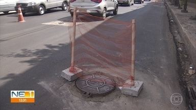 Obra inacabada na Avenida José Rufino dificulta trânsito na região - Motoristas que passam pelo local precisam redobrar a atenção.