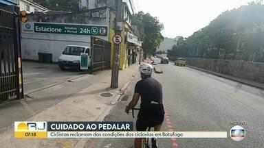 Ciclistas reclamam das condições das ciclovias em Botafogo - Nesta terça-feira, um ciclista foi atropelado por um ônibus num cruzamento do bairro.