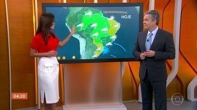 Previsão é de tempo firme no Sudeste nesta sexta-feira - Hoje o risco de chuva mais forte vale para o Rio de Janeiro, Espírito Santo, Minas Gerais e no centro-sul de Goiás.