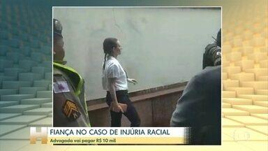 Mulher presa por injúria racial paga R$ 10 mil de fiança e consegue liberdade provisória - Nathália Gomes, de 36 anos, foi presa na última quinta-feira (5) após ser denuncia por um taxista. Segundo ele, a advogada se recusou a entrar no carro por ele ser negro e chegou a cuspir em seu pé.