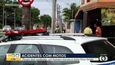 Dois motociclistas sofreram acidentes em Goiânia na madrugadas desta segunda (9) - Um deles morreu e o outro ficou ferido e foi socorrido.