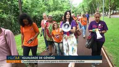 Caminhada faz uma alerta para a violência contra a mulher - A caminhada foi realizada na Avenida Paraná, no domingo.