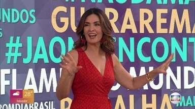 Fátima confere a 'nuvem de palavras' que estão bombando na internet - Suposta visita de ator turco à cidade de Guararema agita web