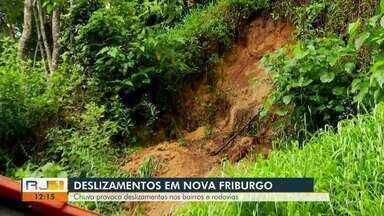 Chuva causa transtornos na Região Serrana do Rio - Queda de barreira, pedra e alagamentos foram registrados.