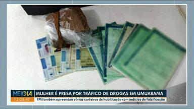 Polícia encontra documentos falsos com mulher presa por tráfico - Na casa dela, a polícia também encontrou maconha.