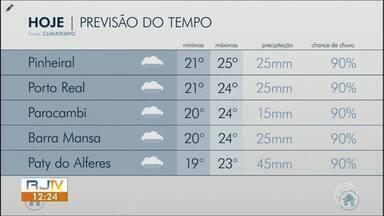 Quarta-feira terá chuva durante o dia todo no Sul do Rio - Sol aparece entre nuvens em algumas cidades da região.