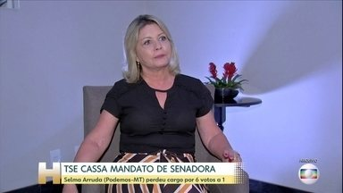 TRE de Mato Grosso deve convocar eleições para eleger um senador substituto - A senadora eleita pelo estado, Selma Arruda (Podemos) foi cassada por decisão unânime do Tribunal Superior Eleitoral. Os suplementes também perderam o direito ao mandato. Ainda cabe recurso.