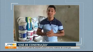 """""""Chá de construção"""" : na Paraíba noivos pedem de presente material para construir a casa - Os noivos pediram de presente cimento, argamassa, massa corrida, chuveiro, fiação elétrica e até diárias de pedreiro."""