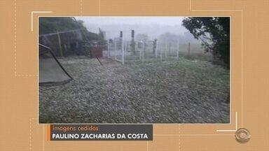 Chuva de granizo é registrada em Itaqui - Morador registrou o temporal e fez vídeo. Temporal durou cerca de 30 minutos e não causou estragos