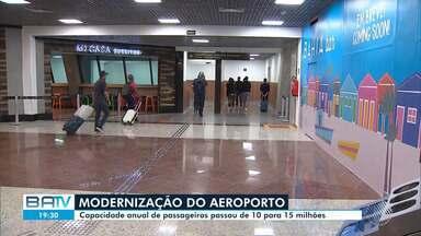 Aeroporto de Salvador aumenta capacidade de passageiros de 10 para 15 milhões - Primeira etapa de obras de ampliação foi entregue nesta quarta-feira (11).