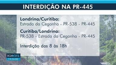 PR-445 terá trânsito interditado nesta quinta (12) - É para detonação de rochas no KM 54, entre Londrina e Irerê