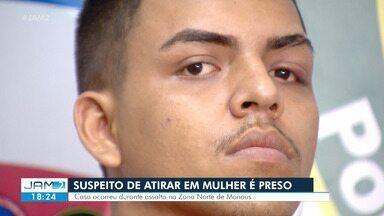 Suspeito de roubar celular e atirar em mulher é preso em Manaus - Polícia também prendeu outro homem de 20 anos que emprestou motocicleta utilizada no dia do crime.