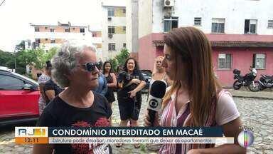 Bloco de condomínio popular em Macaé ameaça desabar e moradores precisam deixar o local - Pessoas tiveram que sair dos apartamentos do condomínio na Granja dos Cavalheiros.