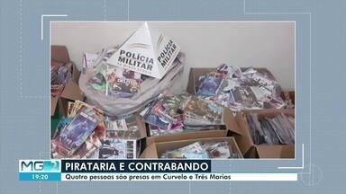 Quatro pessoas são detidas com cigarros contrabandeados e CDs e DVDs piratas - Operação foi feita em Curvelo e Três Marias.