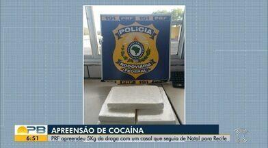 Mulher é presa na Paraíba com 5 kg de cocaína no dia do aniversário de 18 anos, diz PRF - Homem que estava com ela alegou que receberia R$ 1,5 mil para transportar a droga.