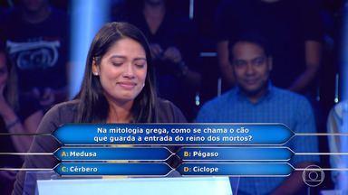 Maiana se emociona ao lembrar de pergunta no 'Quem Quer Ser Um Milionário' - Ela acertou pergunta de R$ 100 mil por causa do filho dela, porque ela conta histórias de mitologia grega pra ele