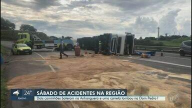 Acidentes geram congestionamentos em rodovias de Sumaré e Campinas - Em Sumaré (SP), guindaste bateu na traseira de caminhão na Rodovia Anhanguera (SP-330); trânsito foi normalizado. Na Dom Pedro I, em Campinas (SP), caminhão tombou na altura do Km 134, no sentido de Jacareí (SP); faixa continua bloqueada e trânsito segue carregado.