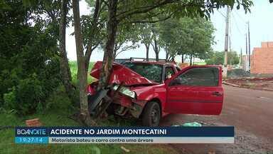 Homem bate o carro contra árvore em Londrina - Acidente foi no jardim Montecatini, na saída para Ibiporã no fim da tarde deste sábado (14)