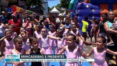 Festas de Natal fazem a alegria da criançada na Grande Vitória - Neste sábado (14), várias comunidades tiveram festas.