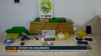 Operação em Jaguariaíva prende quatro pessoas por tráfico de drogas - Mais de 80 comprimidos de ecstasy foram apreendidos.