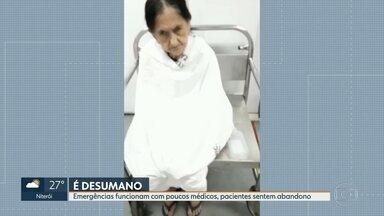 Idosa passa madrugada numa cadeira da emergência no Centro - Faltam médicos nos hospitais do Rio