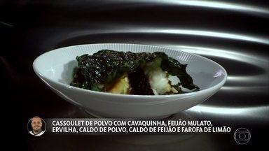 Djalma Victor apresenta Cassoulet de polvo com cavaquinha, feijão mulato e farofa de limão - Claude e Batista experimentam o prato