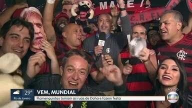 Torcida do Flamengo invade Doha para final do Mundial de Clubes - Flamenguistas fazem a festa nas ruas de Doha para torcer na final do Mundial de Clubes.
