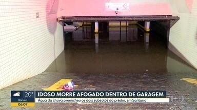 Idoso morre afogado em garagem de prédio da Zona Norte de SP - Água da chuva preencheu os dois subsolos do prédio.