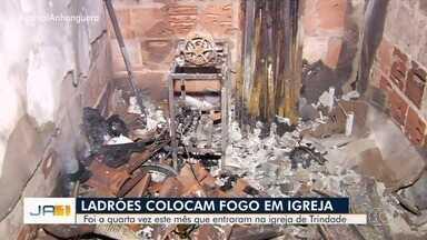 Igreja evangélica é invadida e incendiada em Trindade - Crime ocorreu no Setor Palmares.