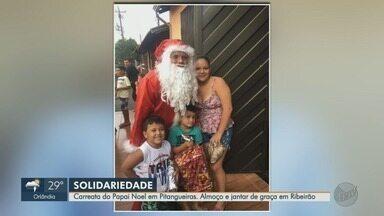 Fim de ano é marcado por ações solidárias na região de Ribeirão Preto - Carreata de Papai Noel realizada por família de jovem assassinado emocionou população de Pitangueiras (SP).