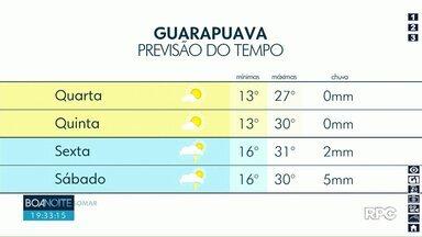 Natal será de tempo firme na região de Guarapuava - As temperaturas ficam próximas dos 30° durante à tarde.