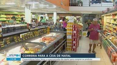 Consumidores lotam supermercados e feiras em busca de produtos para ceia natalina - Consumidores lotam supermercados e feiras em busca de produtos para ceia natalina