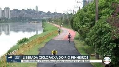 Liberada ciclofaixa do Rio Pinheiros entre as estações Cidade Universitária e Villa Lobos - A pista tinha sido interditada no começo de dezembro do ano passado para obras de recuperação da ciclovia.