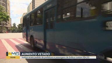 Prefeitura consegue barrar na Justiça aumento das passagens de ônibus em BH - Município recorreu de decisão que havia determinado o reajuste das tarifas. Empresas querem que passagem aumente de R$ 4,50 para R$ 4,75.