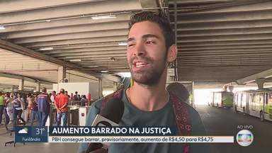 Decisão provisória mantém preço da passagem de ônibus, em BH, a R$4,50 - Prefeitura conseguiu barrar novo aumento na justiça.
