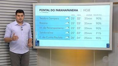 Veja como fica a previsão do tempo para cidades da região de Presidente Prudente - Tiago Rodrigues mostra as temperaturas no Oeste Paulista.