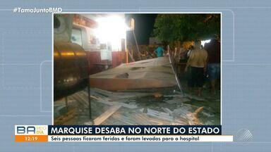 Perigo: Desabamento de marquise deixa seis pessoas feridas na cidade de Glória, no norte - Acidente aconteceu na noite de terça-feira (7).
