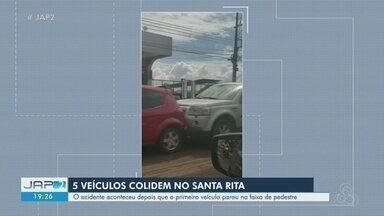 Batida prova engavetamento de 5 veículos na Avenida Padre Júlio, em Macapá - Acidente não deixou feridos, apenas danos materiais.