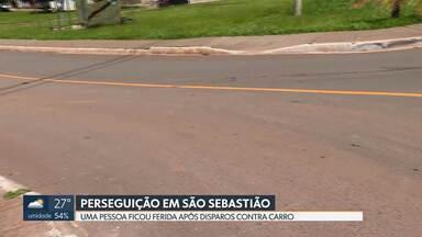 Perseguição em São Sebastião termina com uma pessoa baleada - Homem levou um tiro na cabeça e foi levado de helicóptero para o Hospital de Base.