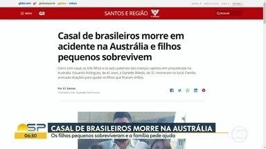 Casal de brasileiros morre em acidente de carro na Austrália - Três filhos pequenos e os avós que também estavam no veículo sobreviveram.