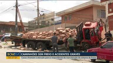 Caminhão perde o freio e bate em caminhonete e depois em muro, em Ponta Grossa - Casos como esse chamam a atenção para a importância da manutenção do sistema de freios.