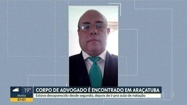 Corpo de advogado é encontrado em Araçatuba - Ele estava desaparecido desde segunda-feira depois de ir pra uma aula de natação.