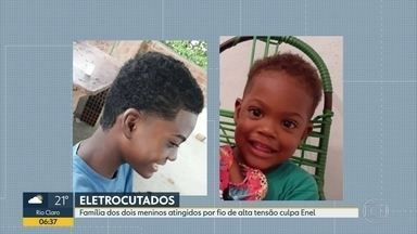 Polícia investiga caso dos dois irmãos que morreram eletrocutados em São Gonçalo - Família dos meninos acusa Enel de negligência.