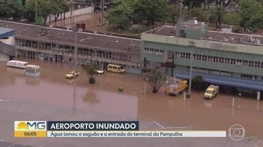 Infraero afirma que operações no Aeroporto da Pampulha não foram afetadas por enchente - Terminal foi tomado por água nesta terça-feira (14).
