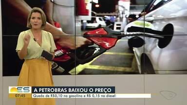 Gasolina tem queda de R$ 0,10 e diesel de R$ 0,15 - O valor do combustível no espírito santo teve a maior queda do país.