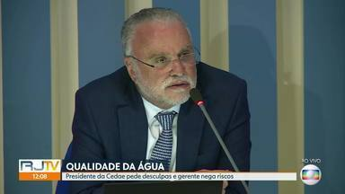 Presidente da Cedae pede desculpas e gerente nega riscos em consumir água - Segundo a concessionária, essa água pode ser consumida pela população.