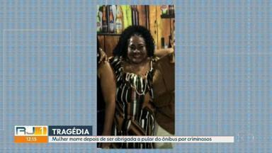 Mulher morre depois pular de ônibus em movimento durante assalto - Ao tentar fugir do assalto, Tânia da Conceição Mota, de 62 anos, acabou batendo a cabeça no meio fio e não resistiu.