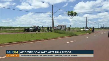 Homem morre após bater kart contra poste em avenida de Londrina - O acidente foi numa avenida pouco movimentada da cidade. Polícia vai investigar como o acidente teria acontecido.