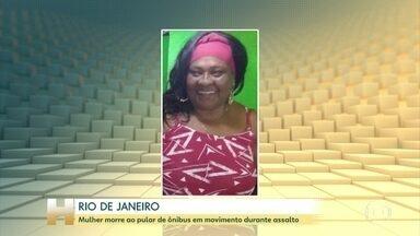 Mulher morre ao pular de ônibus em movimento durante assalto no Rio de Janeiro - Tânia da Conceição Mota tinha 62 anos e voltava do trabalho. Bandidos entraram no ônibus no meio do trajeto de 10 quilômetros entre Madureira e o Jacaré, onde ela morava.