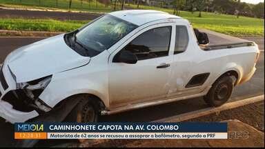 Caminhonete capota na avenida Colombo - Motorista se recusou a assoprar o bafômetro, segundo a PRF.